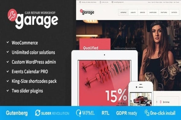 Garage auto service WordPress theme