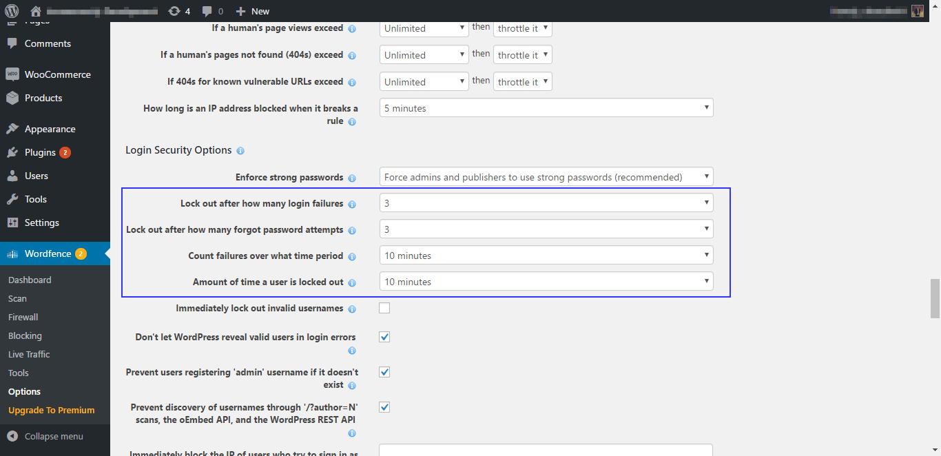 Limit number of login attempts via Wordfence plugin
