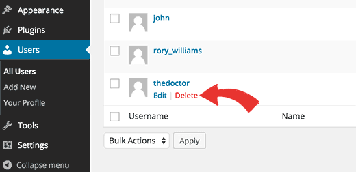 delete old username and create one