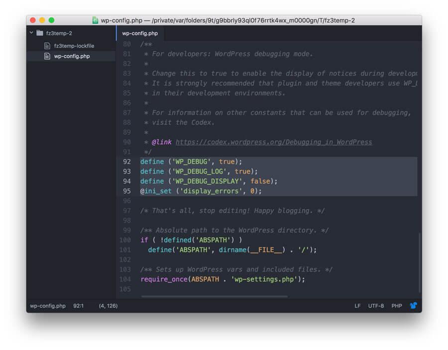 enable debug in wp-config