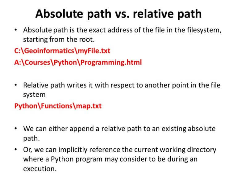 Absolutepath vs relative path