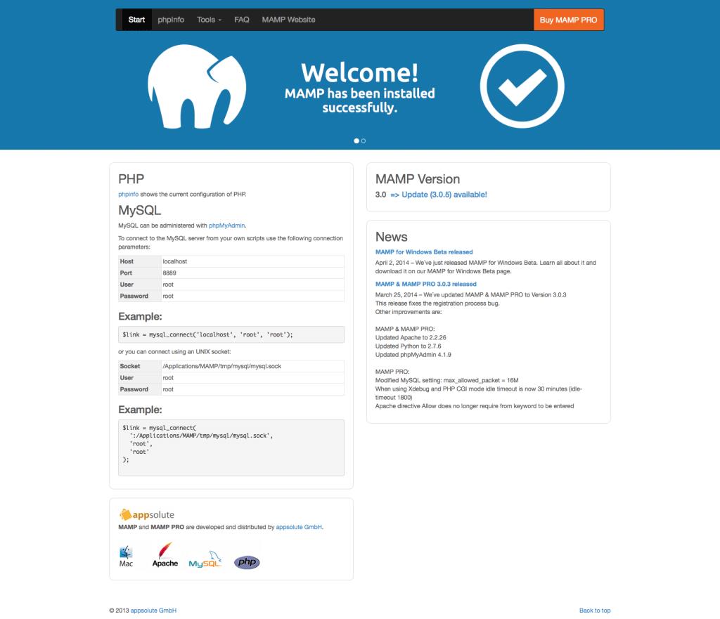 MAMP-start-page