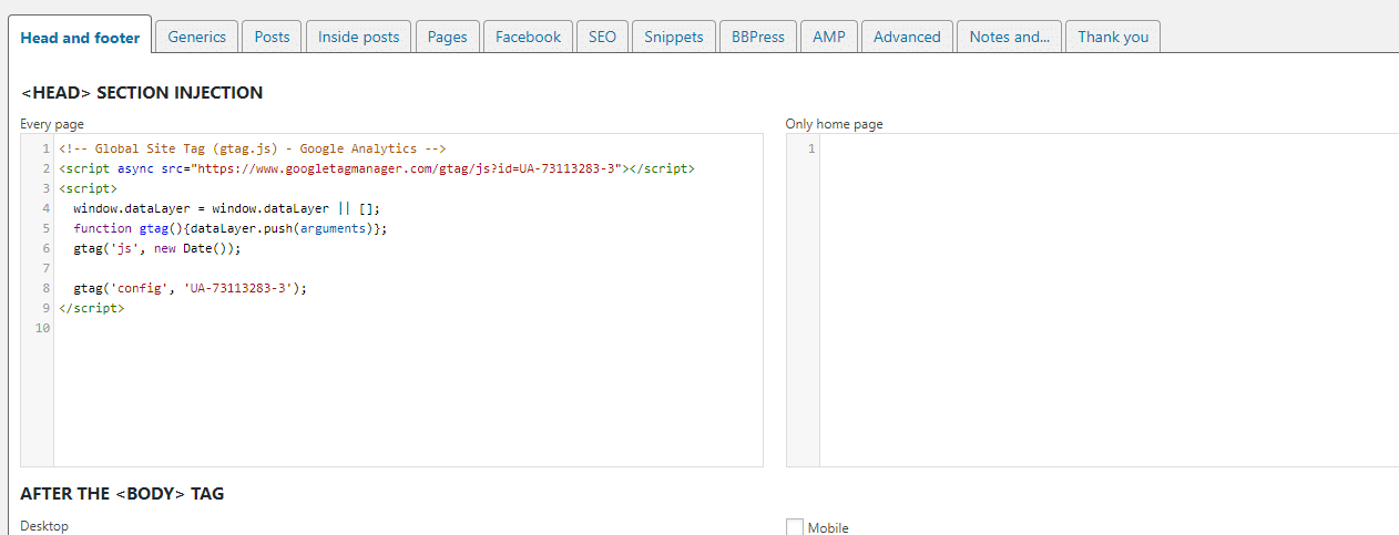 add code wordpress header footer