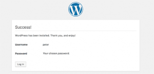WordPress success message