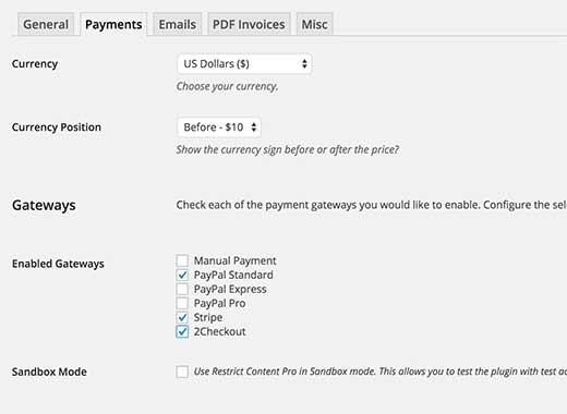 Rcp payment setting