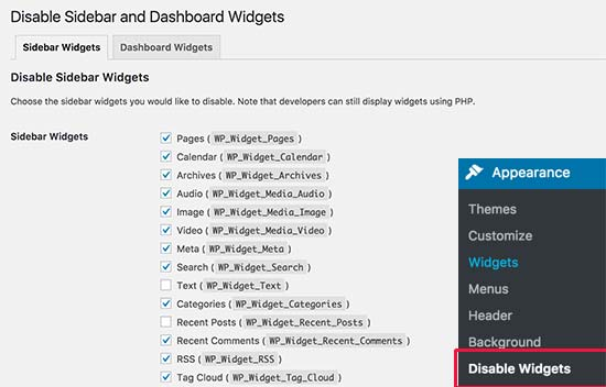 disable unused widgets