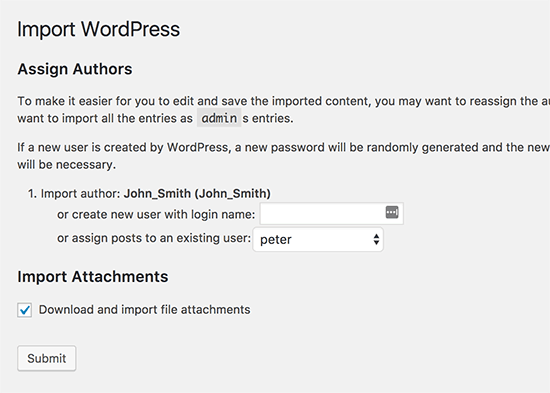 Weebly to WordPress tool setting
