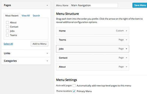 main navigation menu to display icons