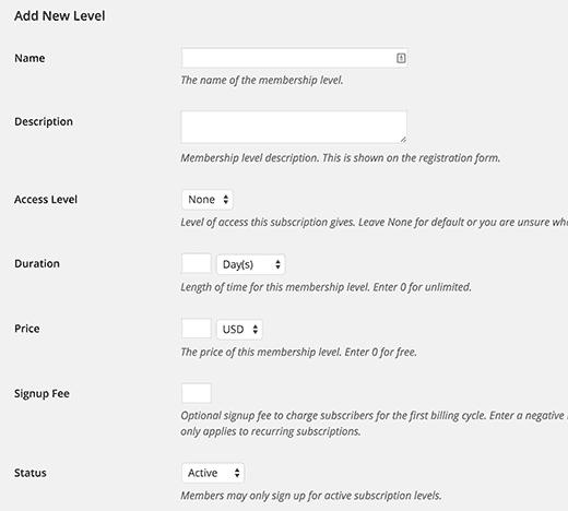 restrict content pro subscription level
