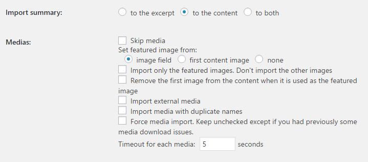 media settings