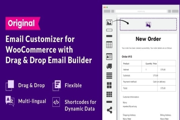WooCommerce Email Customizer With Drag & Drop Builder plugins for email management