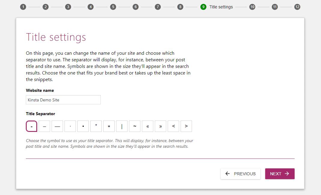 Yoast SEO title settings