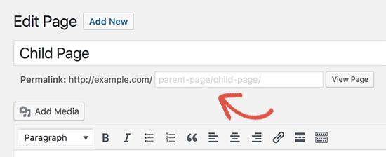 edit child page url