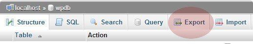 export tab phpmyadmin