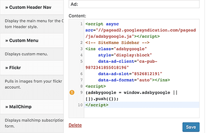 Google AdSense to WordPress site