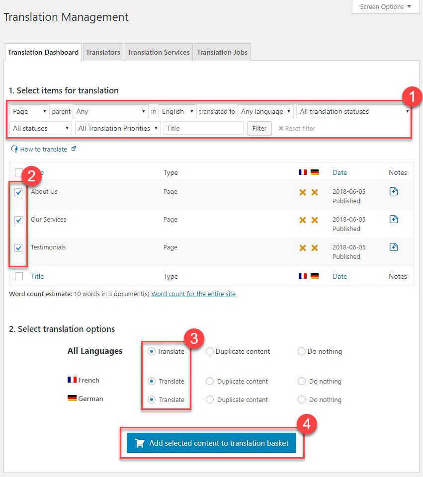 translation using the translation management dashboard