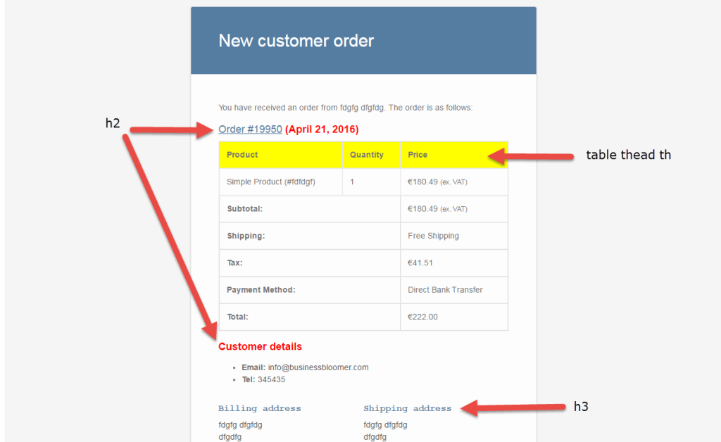 woocommerce customize email css