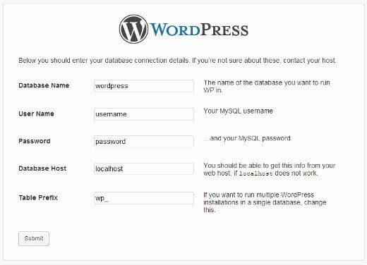 wordpress creates wp config