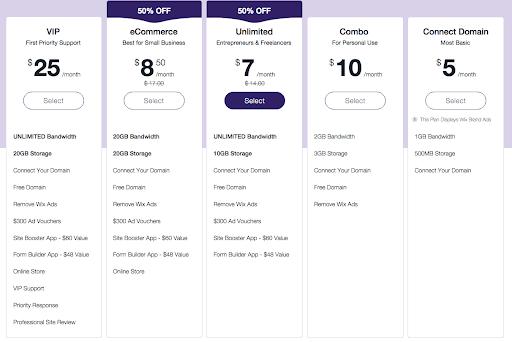 Pricing plan of Wix