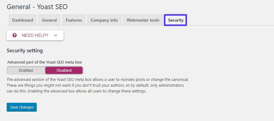 yoast plugin security tab