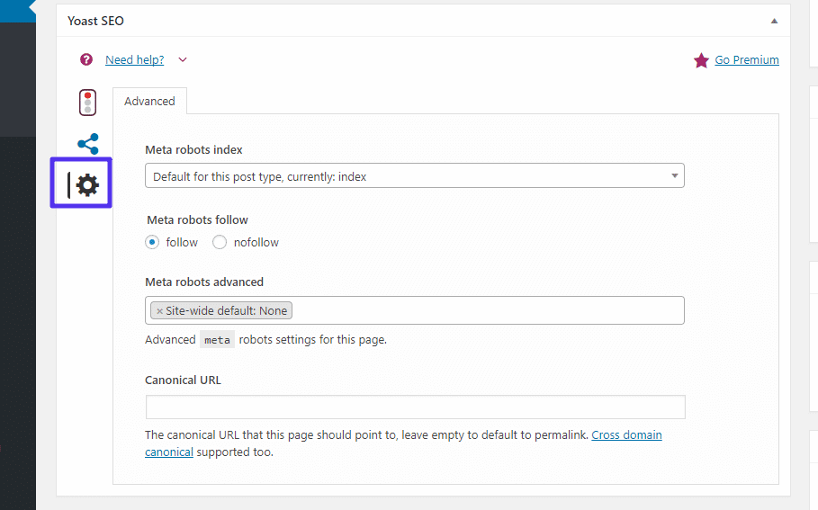 yoast seo advanced tab