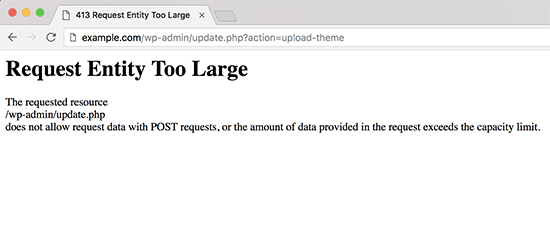 413 request entity too large error