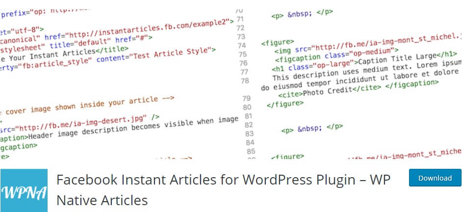 Facebook Instant articles for WordPress WP Native Articles