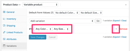 WooCommerce product variation