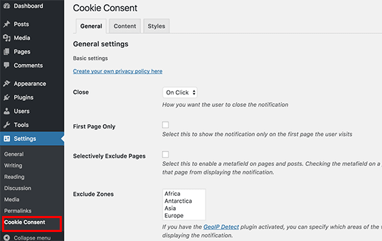 cookie consent settings