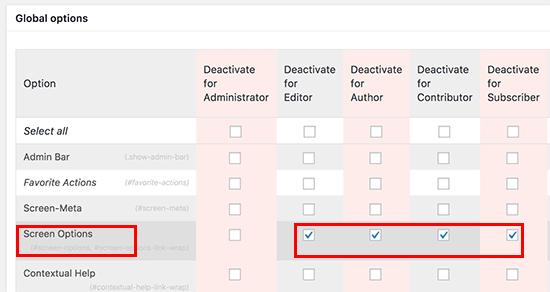 deactivate scr options