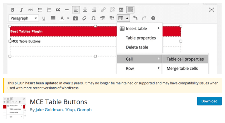 inserting table by using mce table buttons plugin