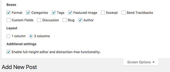 screen options post edit