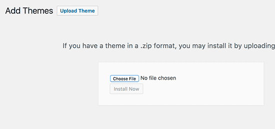 upload theme zip file