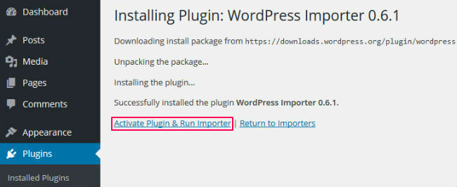 Activate WordPress Importer