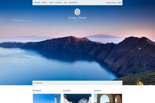 Aegean resort Hotel WordPress theme