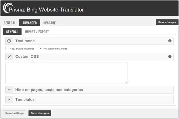 Bing website translator plugin