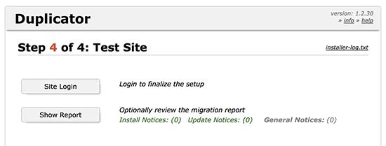 wordpress migration duplicator finished