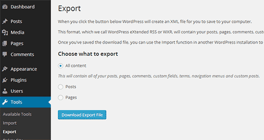 wp multisite export site