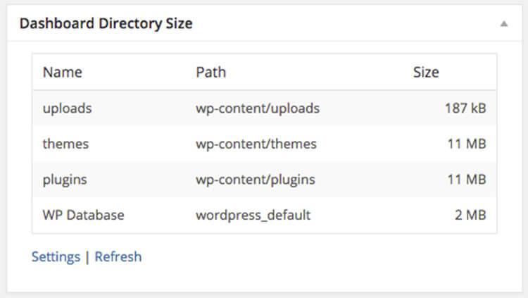 dashboard directory size widget