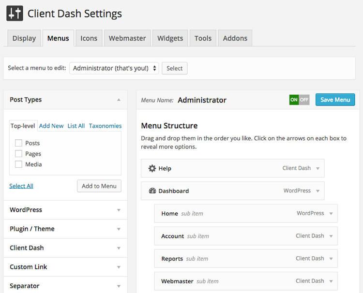 client dash WordPress Plugins
