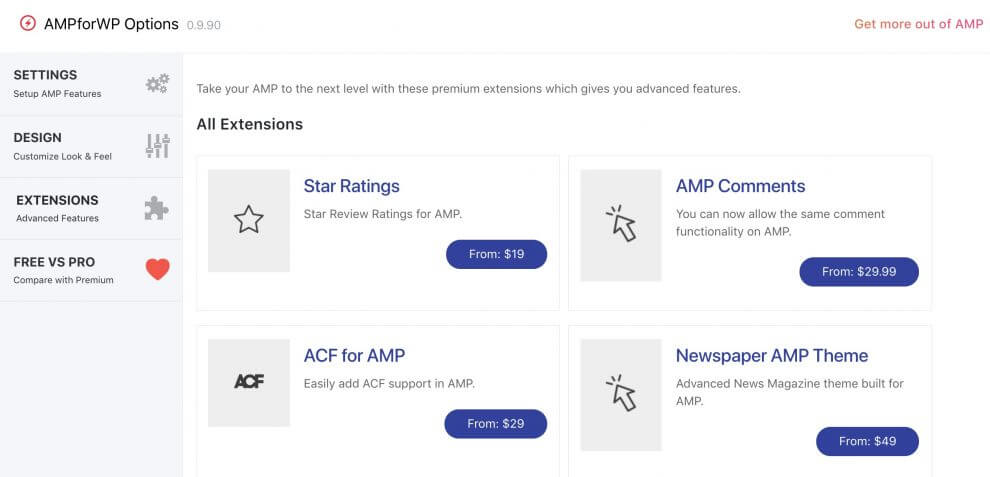 AMP for WP Extensions page