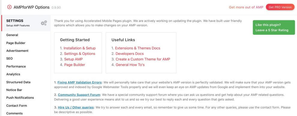 AMP for WP Plugin Settings page