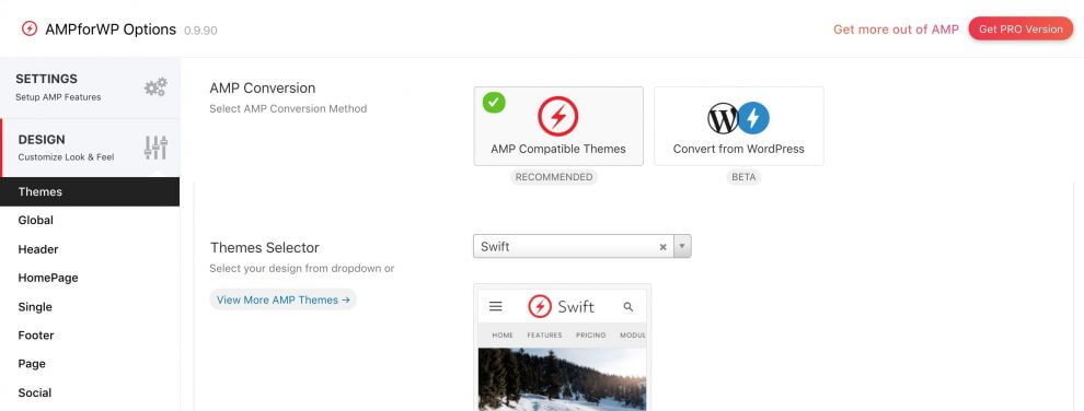 AMP for WP Themes option