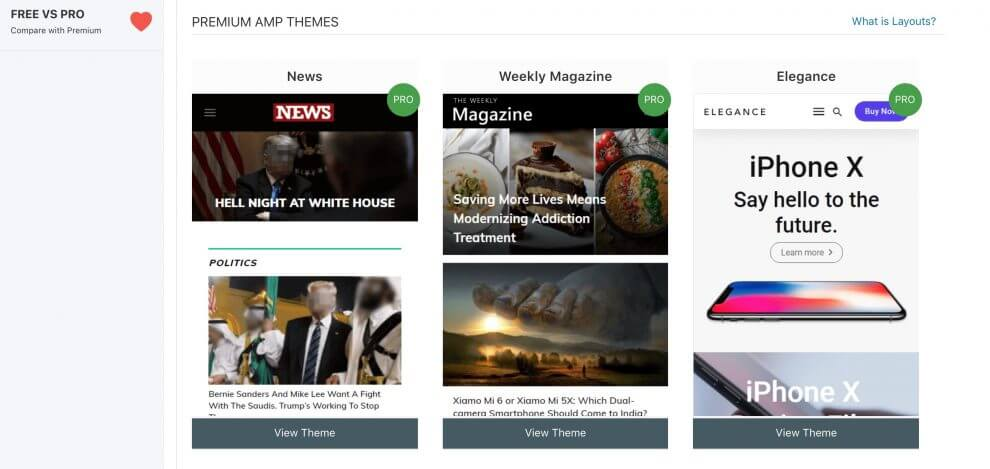 AMP for WP premium themes page