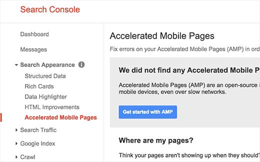 AMP Google search Console