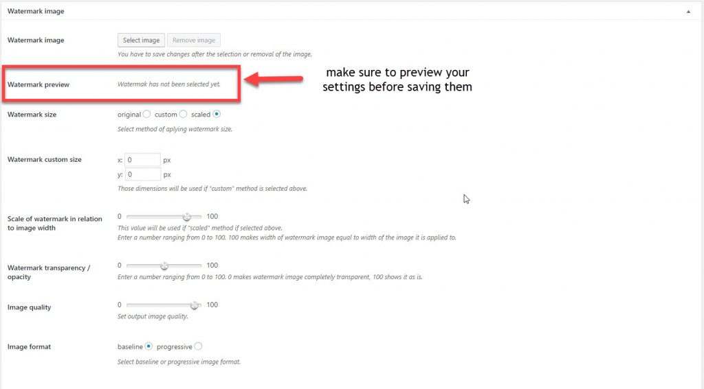 WordPress watermark plugin main settings