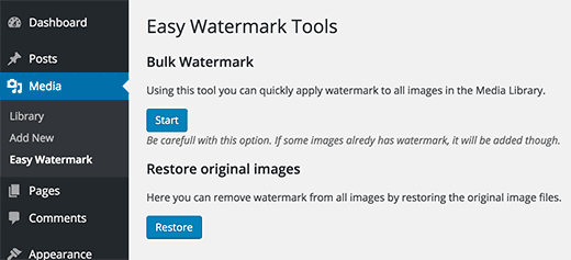 bulk watermark, Add Watermark To Photos in WordPress