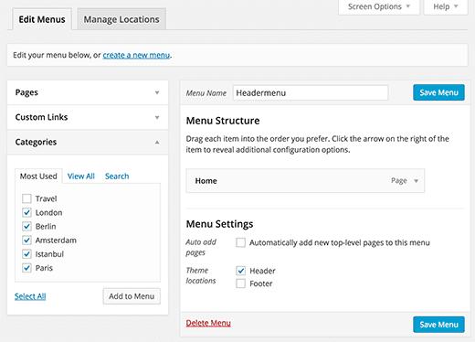 Add Topics in WordPress Navigation Menus