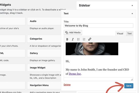 Add an Image Using The Image Widget in WordPress 4