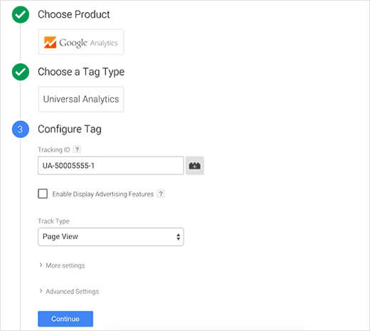 UA tracking ID in google tab manager